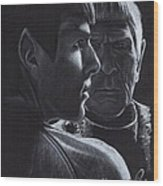Zachary Quinto And Leonard Nimoy Wood Print by Rosalinda Markle