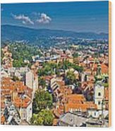 Zagreb Capital Of Croatia Aerial View Wood Print