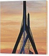 Zakim Bridge In Boston Wood Print by Elena Elisseeva
