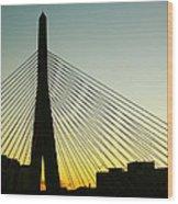 Zakim Bridge Silhouette Wood Print