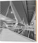 Zakim Bridge Twilight In Boston Bw Wood Print