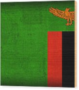 Zambia Flag Distressed Vintage Finish Wood Print