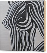 Zebra Body Paint Wood Print