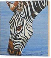 Zebra Drink Wood Print
