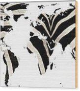 Zebra Fur World Map Wood Print
