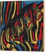 Zebra In The Jungle 2 Wood Print