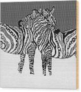 Zebra Love 14 Wood Print