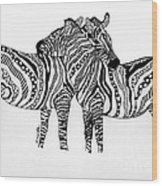 Zebra Love 2 Wood Print