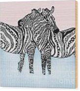 Zebra Love 21 Wood Print