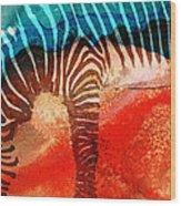 Zebra Love - Art By Sharon Cummings Wood Print by Sharon Cummings