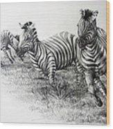Zebra Running Wood Print