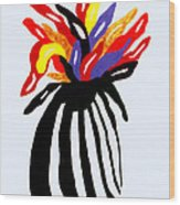 Zebra Vase Wood Print