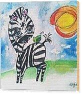 Zebra Zee  Wood Print