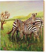 Zebras At Ngorongoro Crater Wood Print