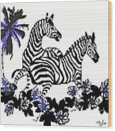 Zebras At Play Wood Print