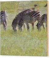 Zebras In Africa Wood Print
