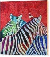 Zebras In Love  Wood Print