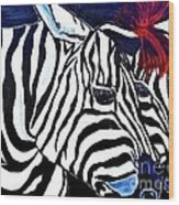 Zebras On A Blue Night Wood Print