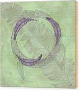 Zen Feather Circle I V Wood Print