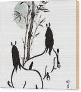 Zen Horses Moon Reverence Wood Print