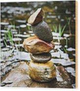 Zen River I Wood Print