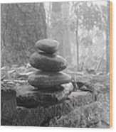 Zen Rocks Wood Print by Judy  Waller