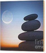 Zen Stones At Night Wood Print