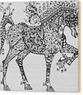 Zentangle Circus Horse Wood Print