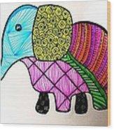 Zentangle Elephant Wood Print