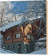 Zermatt Chalet Wood Print