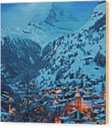 Zermatt - Winter's Night Wood Print by Brian Jannsen