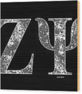 Zeta Psi - Black Wood Print