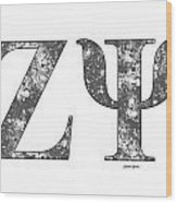Zeta Psi - White Wood Print