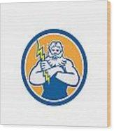 Zeus Greek God Arms Cross Thunderbollt Circle Retro Wood Print