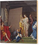 Zeuxis Choosing His Models For The Image Of Helen From Among The Girls Of Croton Wood Print