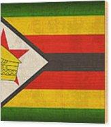 Zimbabwe Flag Distressed Vintage Finish Wood Print by Design Turnpike