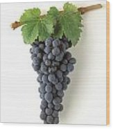 Zinfandel Cluster On White Wood Print by Craig Lovell