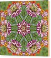 Zinging Zinnia Kaleidoscope Wood Print