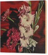 Zinnias And Gladiolas Wood Print