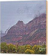 Zion In Clouds Wood Print
