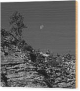 Zion National Park And Moon In Black And White Wood Print