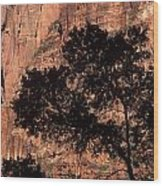 Zion National Park Canyon Walls With Silhouetted Trees In Front  Wood Print