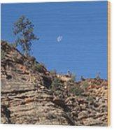 Zion National Park Moonrise Wood Print