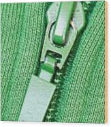 Zipper Of A Green Sweater Wood Print