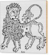 Zodiac Leo, 1482 Wood Print