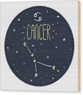 Zodiac Signs Doodle Set - Cancer Wood Print