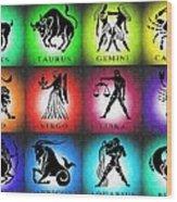 Zodiac Tile Chart Wood Print