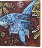 Zombie Eats Shark Wood Print
