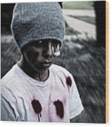 Zombie Kid Wood Print