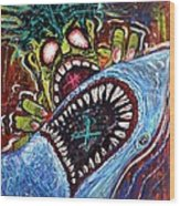 Zombie Shark Fight Wood Print